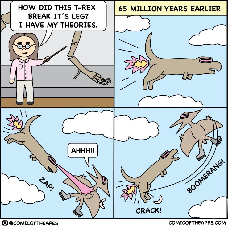 Flying T-rex comic